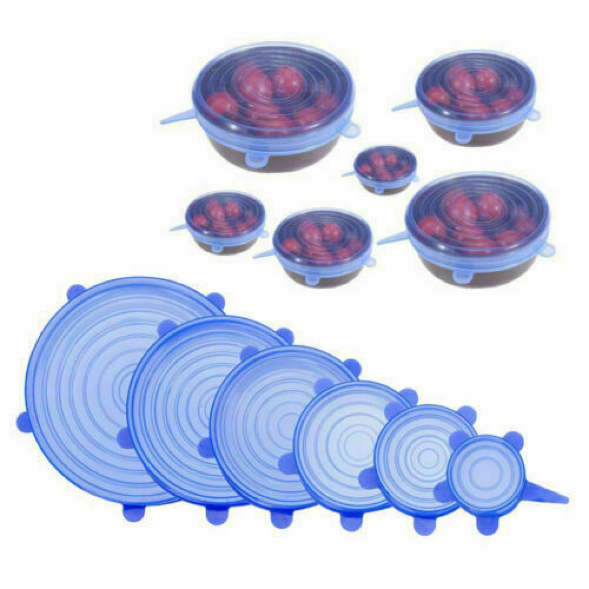 Super Stretch Silicon Lids ( 6 pack ) Rinse & Re-use