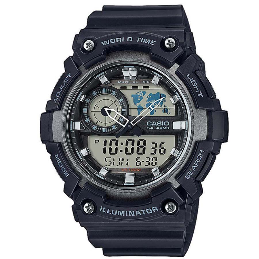 CASIO CA96 Φθορίζων φωτισμός με led Παγκόσμια ώρα Διπλή αναλογική οθόνη Χρονόμετρο - 1/100 δευτ. - 24 ώρες Χρονόμετρο - 1/1 δευτ. - 24 ώρες Αυτόματο ημερολόγιο