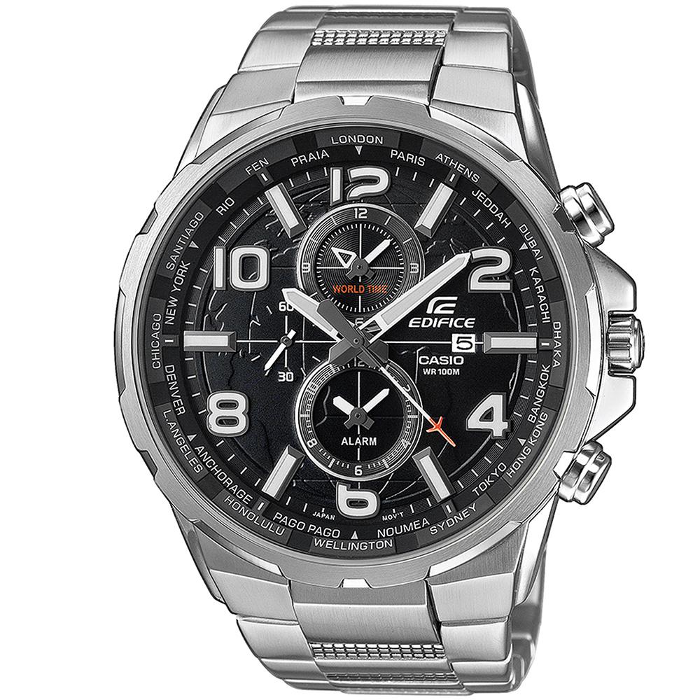 CASIO EDIFICE EFR-302D-1AVUEF Δεύτερη ώρα GMT Ένδειξη ημερομηνίας Ξυπνητήρι Οθόνη με επικάλυψη Neobrite