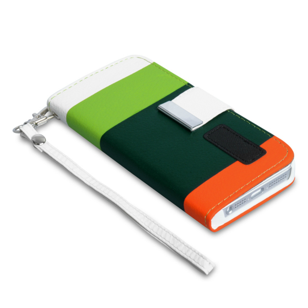 YouSave Accessories για Apple iPhone 5/5S Δερμάτινη PU Θήκη MultiColoured Stripe Wallet Stand και Μεμβράνη Προστασίας Οθόνης(ΚΙΝ095)