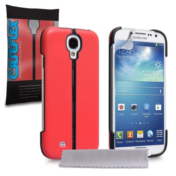 Caseflex για Samsung Galaxy S4 Κόκκινο Hard Stand Cover και Μεμβράνη Προστασίας Οθόνης(ΚΙΝ239)