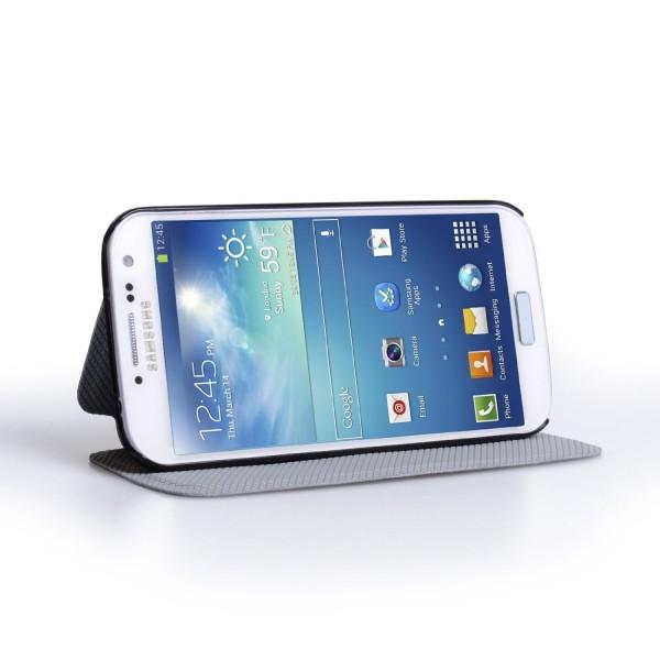 YouSave Accessories για Samsung Galaxy S4 Λευκή Lichee Stand Wallet Θήκη και Μεμβράνη Προστασίας Οθόνης (ΚΙΝ244)