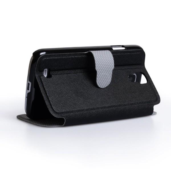 YouSave Accessories για Samsung Galaxy S4 Μαύρη Lichee Stand Wallet Θήκη και Μεμβράνη Προστασίας Οθόνης (ΚΙΝ245)