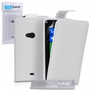 YouSave Accessories για Nokia Lumia 625 Δερμάτινη PU Λευκή Θήκη Flip και Μεμβράνη Προστασίας Οθόνης(ΚΙΝ261)