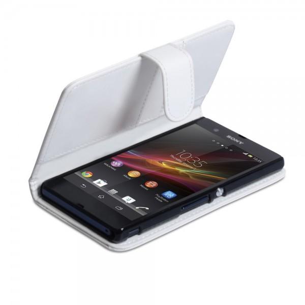 YouSave Accessories για Sony Xperia Z Δερμάτινη PU Λευκή θήκη Wallet και Μεμβράνη Προστασίας Οθόνης(ΚΙΝ271)