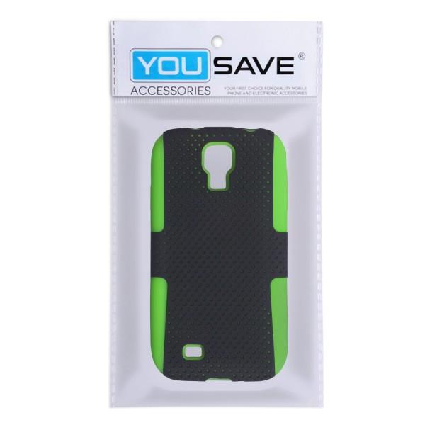 YouSave Accessories για Samsung Galaxy S4 Πράσινη Mesh Combo Θήκη και Μεμβράνη Προστασίας Οθόνης(ΚΙΝ276GR)