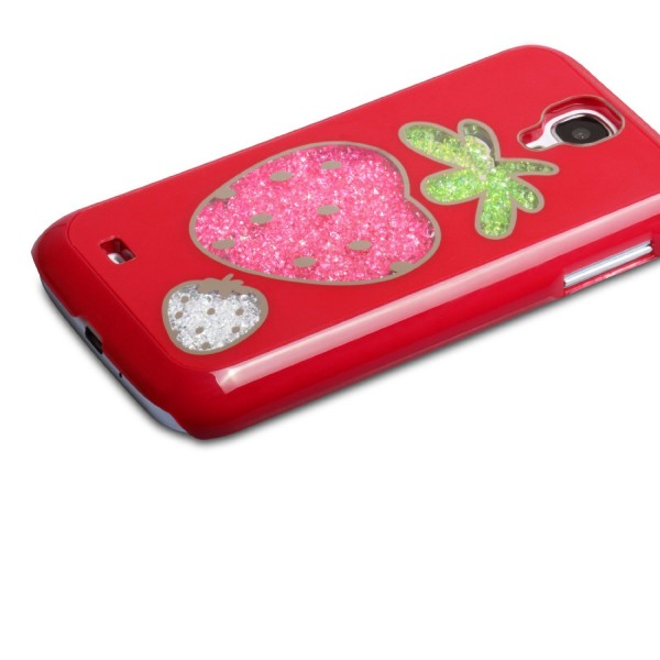 YouSave Accessories για Samsung Galaxy S4 Red Strawberry Glitter Hard Cover και Μεμβράνη Προστασίας Οθόνης(ΚΙΝ296)