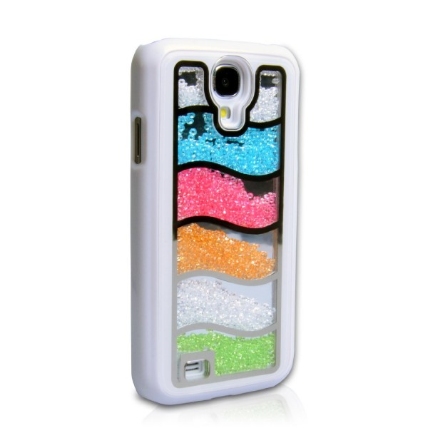 YouSave Accessories για Samsung Galaxy S4 White Rainbow Glitter Hard Cover και Μεμβράνη Προστασίας Οθόνης(ΚΙΝ297)