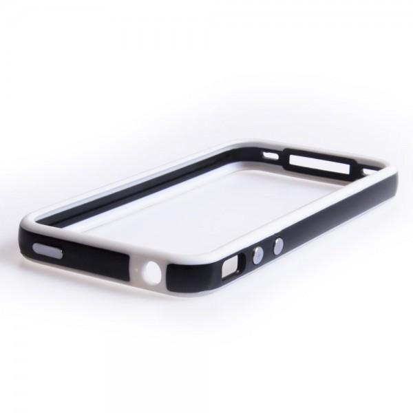 YouSave Accessories για Apple iPhone 4/4S Μαύρη με Λευκή θήκη Bumper και Μεμβράνη Προστασίας Οθόνης(ΚΙΝ314)