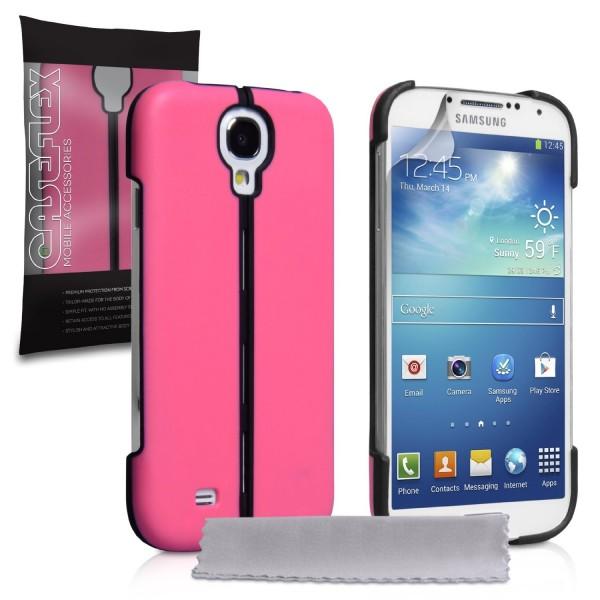 Caseflex για Samsung Galaxy S4 Ροζ Hard Stand Cover και Μεμβράνη Προστασίας Οθόνης(ΚΙΝ317)