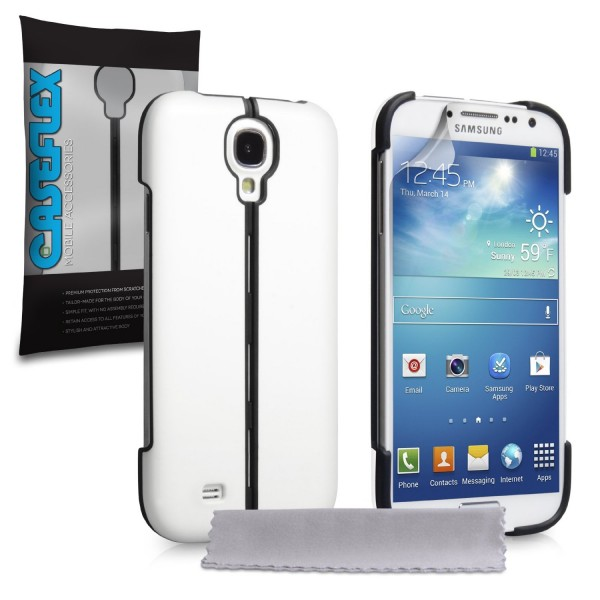 Caseflex για Samsung Galaxy S4 Λευκό Hard Stand Cover και Μεμβράνη Προστασίας Οθόνης(ΚΙΝ318)