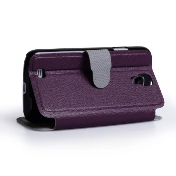 YouSave Accessories για Samsung Galaxy S4 Μωβ Lichee Stand Wallet Θήκη και Μεμβράνη Προστασίας Οθόνης(ΚΙΝ322)