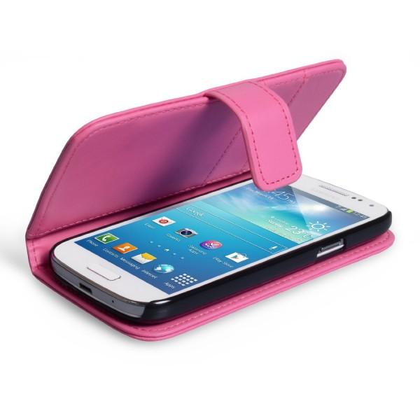 YouSave Accessories για Samsung Galaxy S4 Δερμάτινη PU Hot Pink θήκη Wallet και Μεμβράνη Προστασίας Οθόνης(ΚΙΝ326)