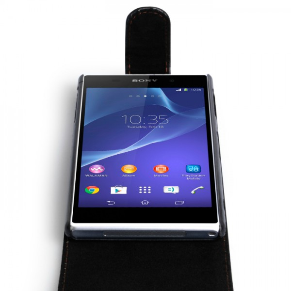 YouSave Accessories για Sony Xperia Z2 Δερμάτινη PU Θήκη Flip και Screen_Protector - Μαύρη(ΚΙΝ391)