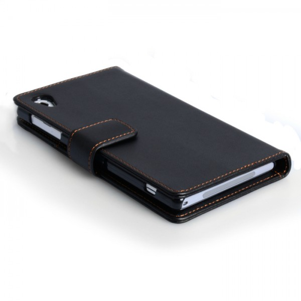 YouSave Accessories για Sony Xperia Z2 Δερμάτινη PU Θήκη Wallet και Screen_Protector - Μαύρη(ΚΙΝ395)