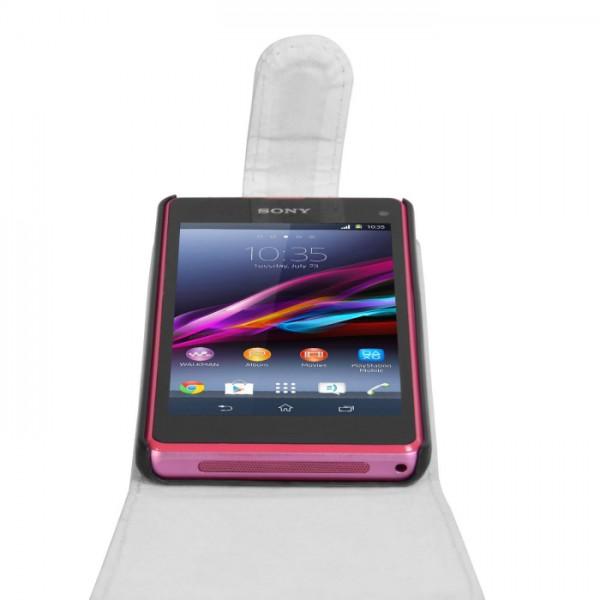 YouSave Accessories για Sony Xperia Z1 Compact Δερμάτινη PU Θήκη Flip και Screen_Protector - Λευκή(ΚΙΝ398)