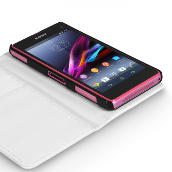 YouSave Accessories για Sony Xperia Z1 Compact Δερμάτινη PU Θήκη Wallet και Screen_Protector - Λευκή(ΚΙΝ400)