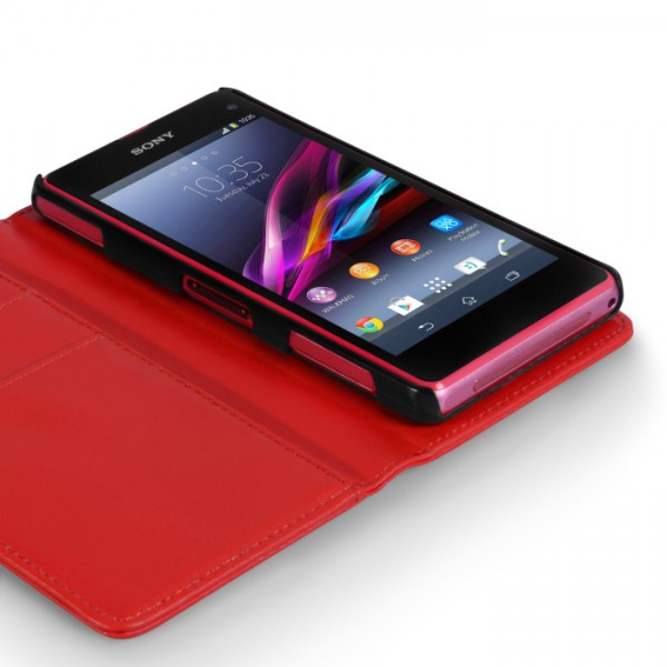 YouSave Accessories για Sony Xperia Z1 Compact Δερμάτινη PU Θήκη Wallet και Screen_Protector - Κόκκινη(ΚΙΝ401)