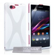 YouSave Accessories για Sony Xperia Z1 Compact Θήκη Gel X-Line και Screen_Protector - Λευκή(ΚΙΝ404WH)