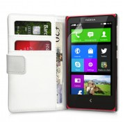 YouSave Accessories για Nokia X Δερμάτινη PU Θήκη Wallet και Screen_Protector - Λευκή(ΚΙΝ419)