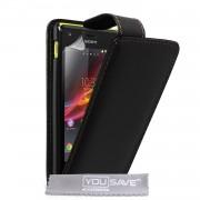 YouSave Accessories για Sony Xperia M Δερμάτινη PU Θήκη Flip και Screen_Protector - Μαύρη(ΚΙΝ434)