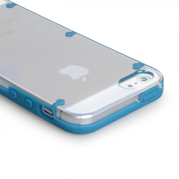 YouSave Accessories για Apple iPhone 5/5S Θήκη Hard Silicone και Screen_Protector - Μπλε/Διάφανη(ΚΙΝ446BLU)