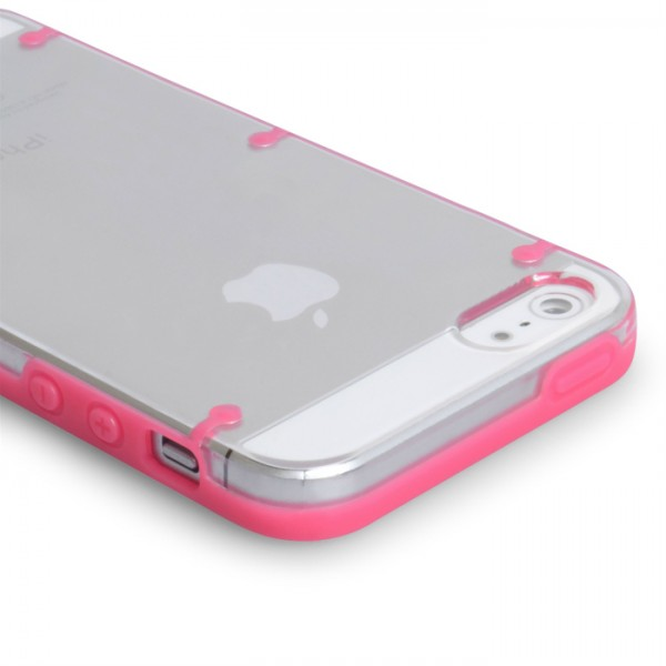 YouSave Accessories για Apple iPhone 5/5S Θήκη Hard Silicone και Screen_Protector - Ροζ/Διάφανη(ΚΙΝ446PINK)