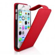 YouSave Accessories για Apple iPhone 5/5S Δερμάτινη PU Θήκη Flip και Screen_Protector - Κόκκινη(ΚΙΝ450)