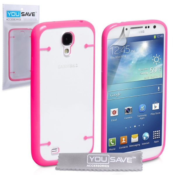 YouSave Accessories για Samsung Galaxy S4 Hot Pink Θήκη Hard Silicone και Μεμβράνη Προστασίας Οθόνης(ΚΙΝ279PIN)