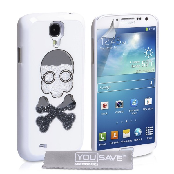YouSave Accessories για Samsung Galaxy S4 White Skull Hard Cover και Μεμβράνη Προστασίας Οθόνης(ΚΙΝ334)