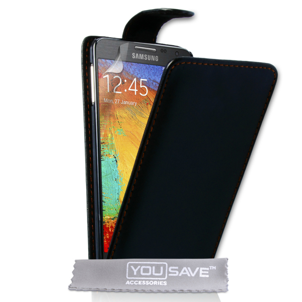 YouSave Accessories για Samsung Galaxy Note 3 Neo Δερμάτινη PU Θήκη Flip και Screen_Protector - Μαύρη(ΚΙΝ426)