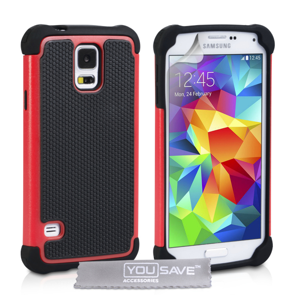 YouSave Accessories για Samsung Galaxy S5 Θήκη Grip Combo και Screen_Protector - Κόκκινη(ΚΙΝ368)