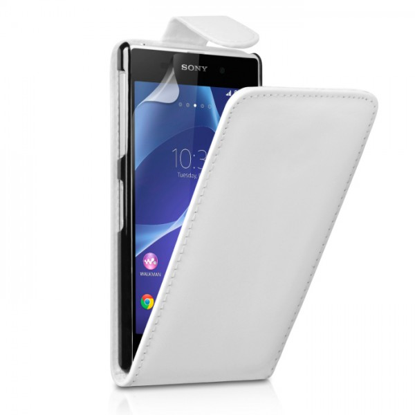 YouSave Accessories για Sony Xperia Z2 Δερμάτινη PU Θήκη Flip και Screen_Protector - Λευκή(ΚΙΝ392)