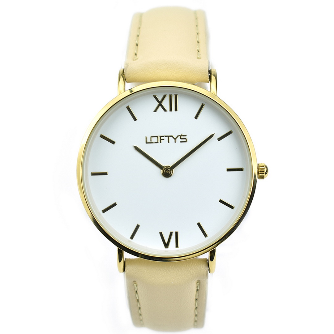 Ρολόι LOFTYS Vintage Beige Genuine Leather Strap Y3406-7