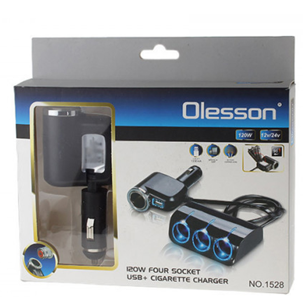 Πολύμπριζο Αυτοκινήτου 5 σε 1 με USB 12/24V 120W