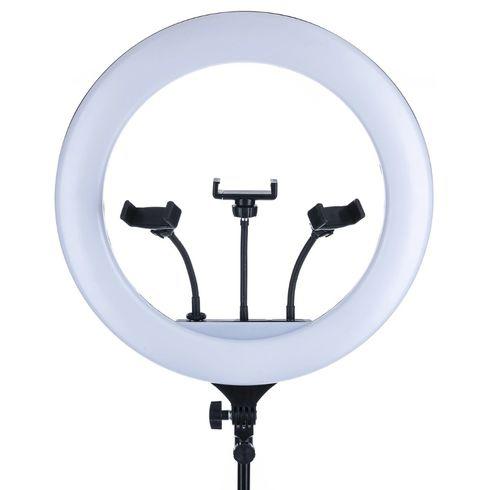 Μεγάλο Φωτογραφικό Δαχτυλίδι 43cm Τριών Βάσεων Κινητού & Κάμερας με Φορτιστή & Χειριστήριο - Φωτιστικό Ring Light LED 3200K - 5800K, Τρίποδο