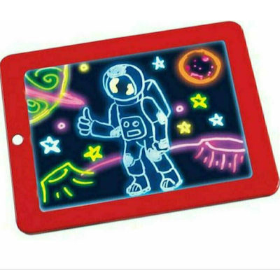 Φορητό Τάμπλετ Ζωγραφικής - Magic Sketchpad Με Φωσφορίζοντα Χρώματα, 30 Στένσιλ & 3 Διπλούς Μαρκαδόρους - Κόκκινο