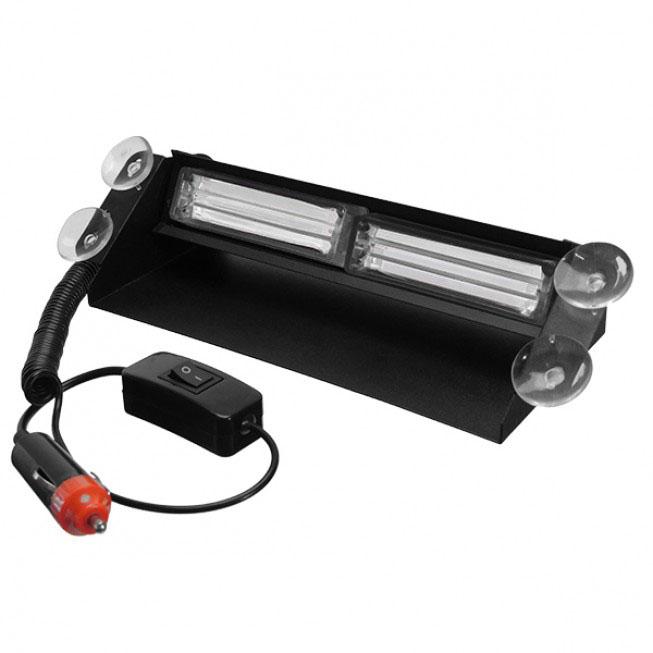 Φώτα Αστυνομίας STROBO για Παρμπρίζ Αυτοκινήτου με Βεντούζες Στήριξης LED 2 x COB LIGHT 8W 10-30V Μπλε GloboStar 34
