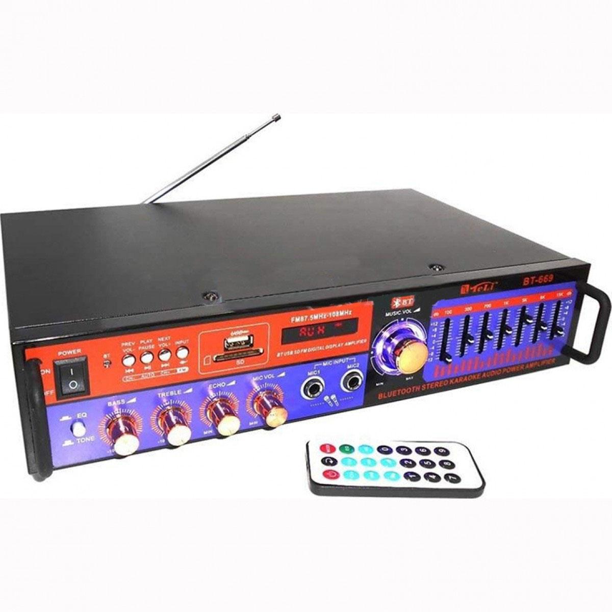 Ενισχυτής στερεοφωνικό με Bluetooth για αναπαραγωγή MP3, ραδιόφωνου, SD κάρτας, ισοσταθμιστές equalizer, BT-669