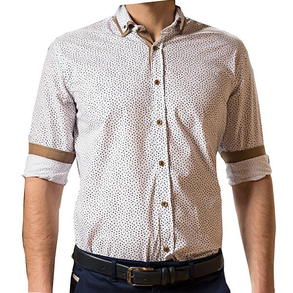 Ανδρικό πουκάμισο σε slim γραμμή TRESOR 33-7132 σε λεύκό χρώμα με σχέδιο
