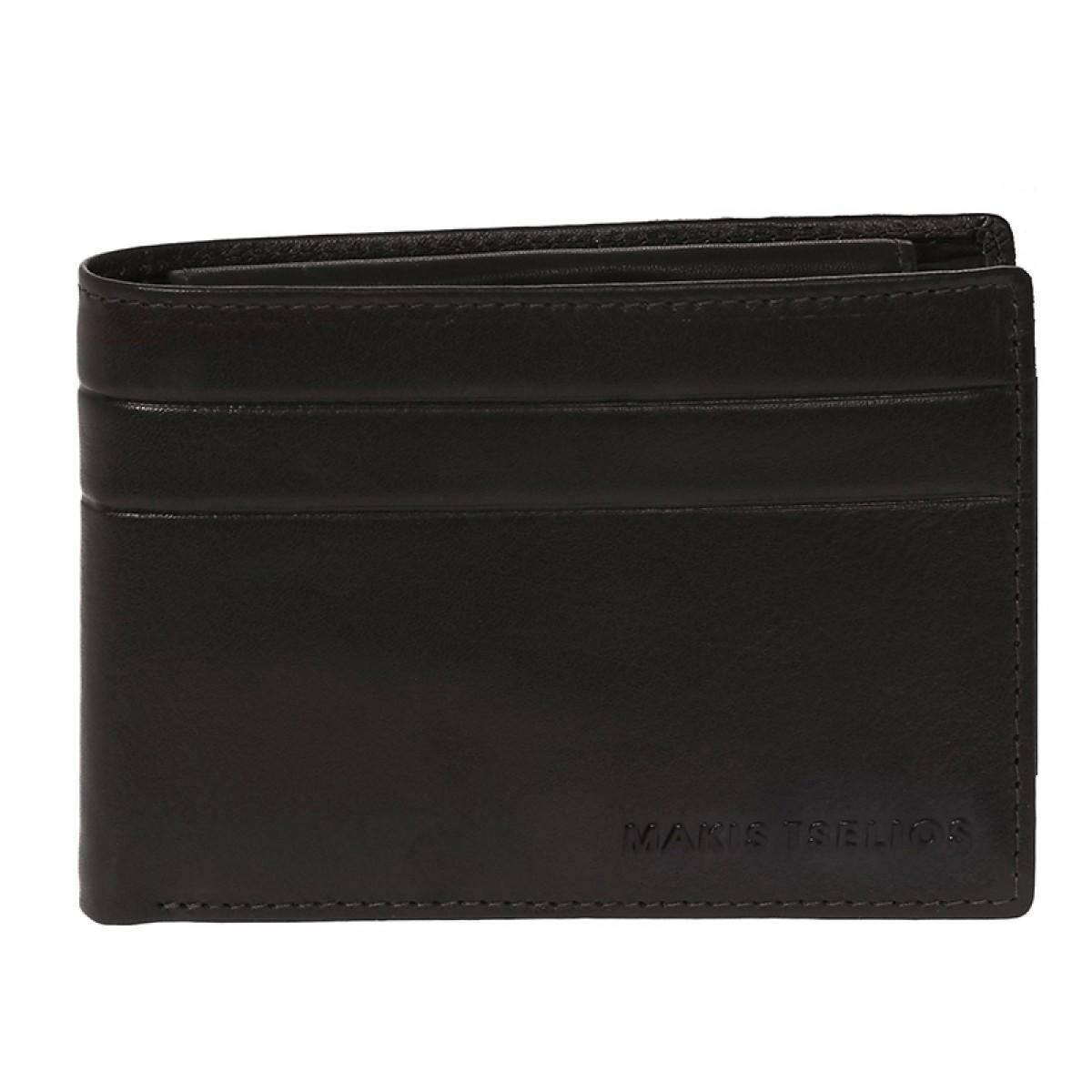 1aaa6307c0 Δερμάτινο ανδρικό πορτοφόλι ΜΑΚΗΣ ΤΣΕΛΙΟΣ σε μαύρο χρώμα με RFID προστασία  (6-811BL)