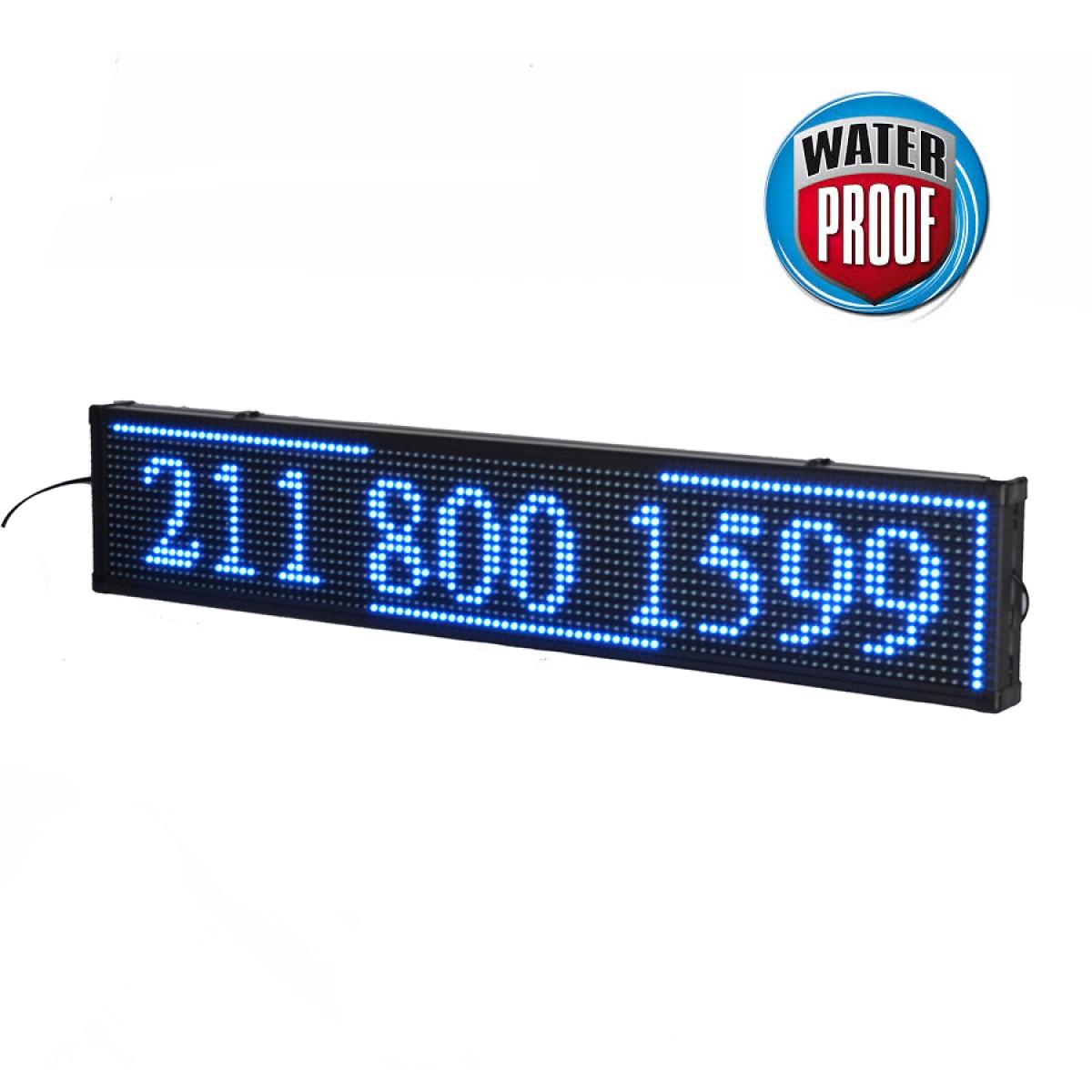 Πινακίδα LED ΑΔΙΑΒΡΟΧΗ κυλιόμενων μηνυμάτων 100x20 cm μπλέ