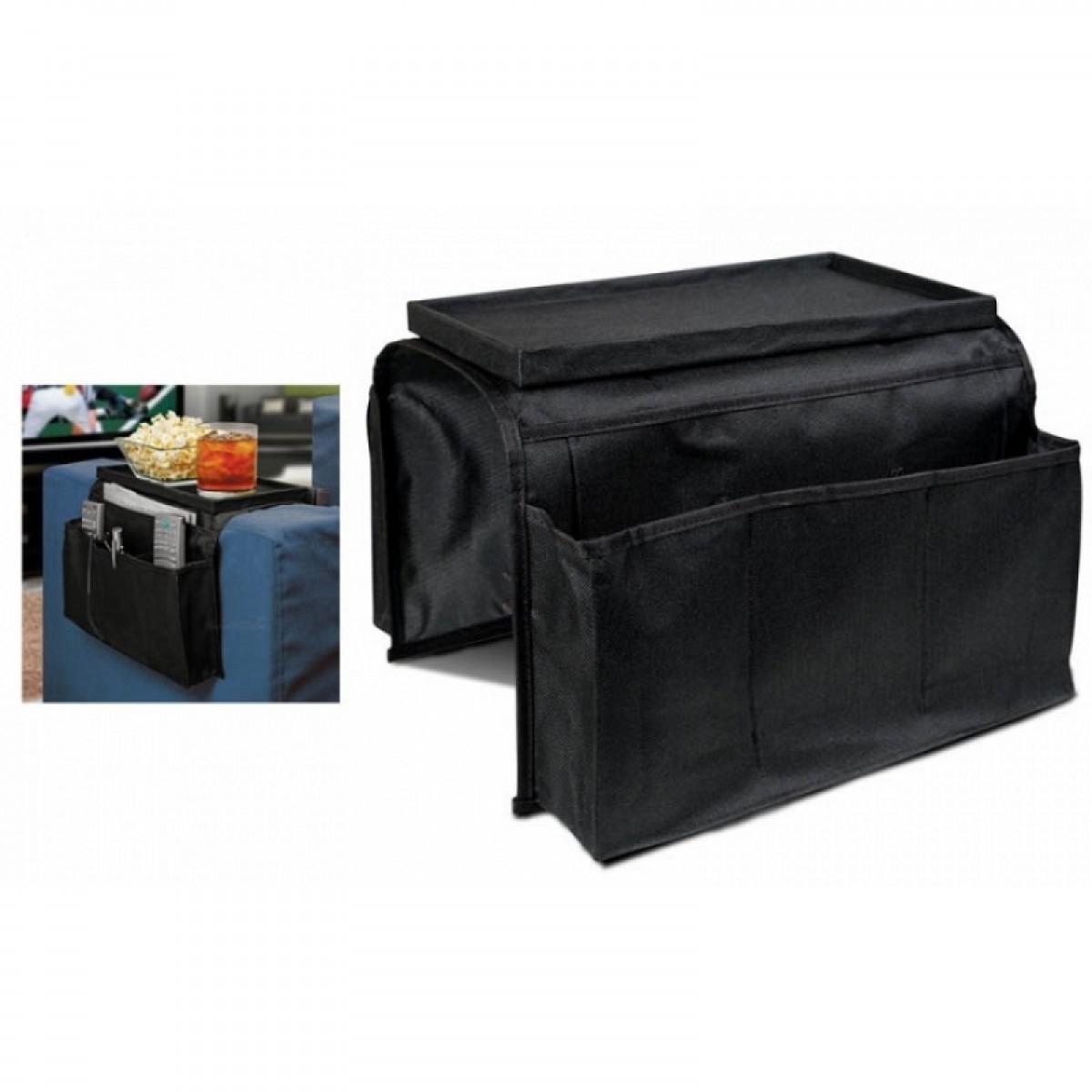 Θήκη οργάνωσης για τον καναπέ με βάση για ποτά, αναψυκτικά, τηλεκοντρόλ κ.α - ΜΑΥΡΟ- Arm Rest Organiser-OEM