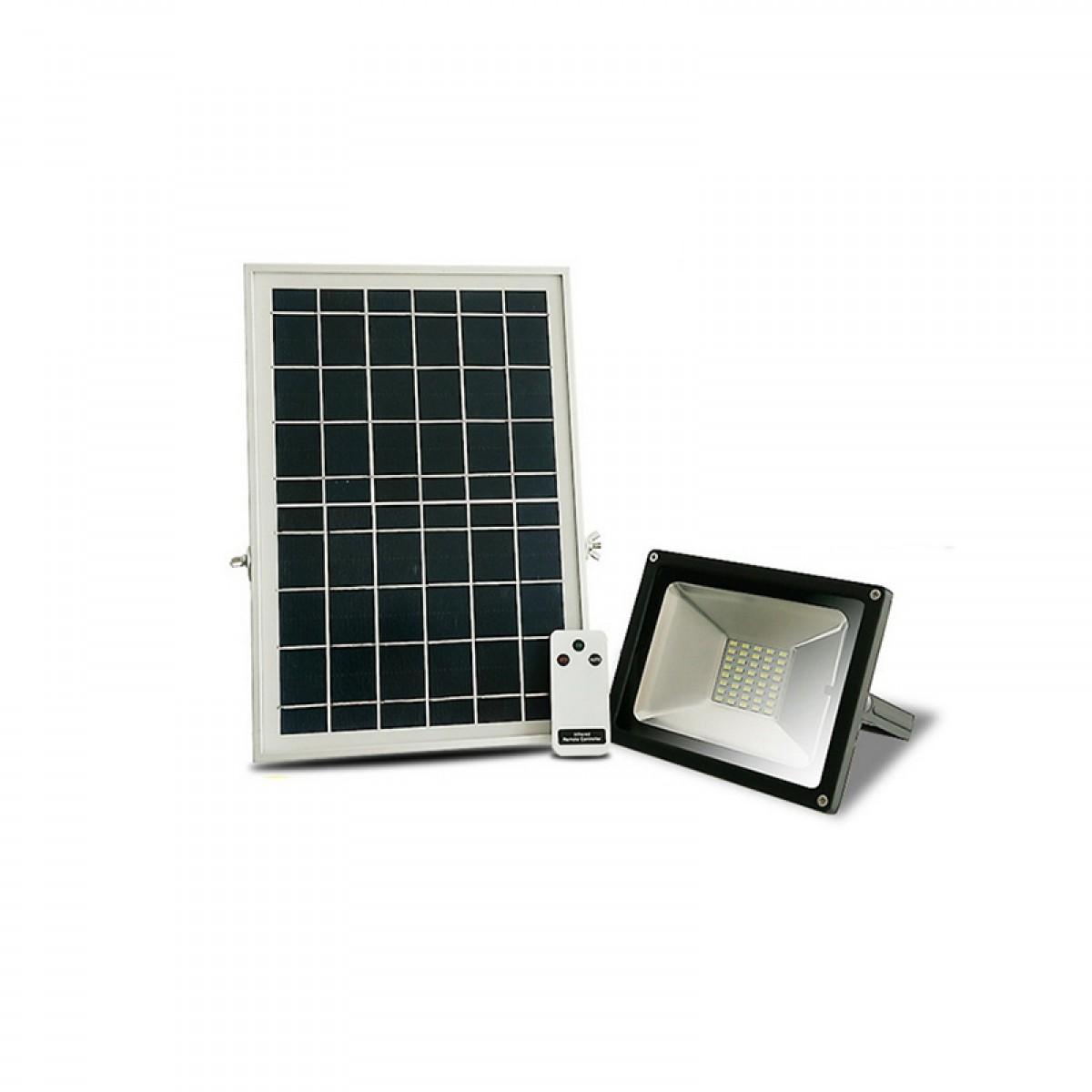 Ηλιακός προβολέας ανάβει μόλις νυχτώσει και σβήνει όταν ξημερώσει εξωτερικού χώρου IP 65 10W με 25 ισχυρά SMD LED + Τηλεχειριστήριο ON - OFF + Επιλογή αυτόματου φωτισμού το βράδυ