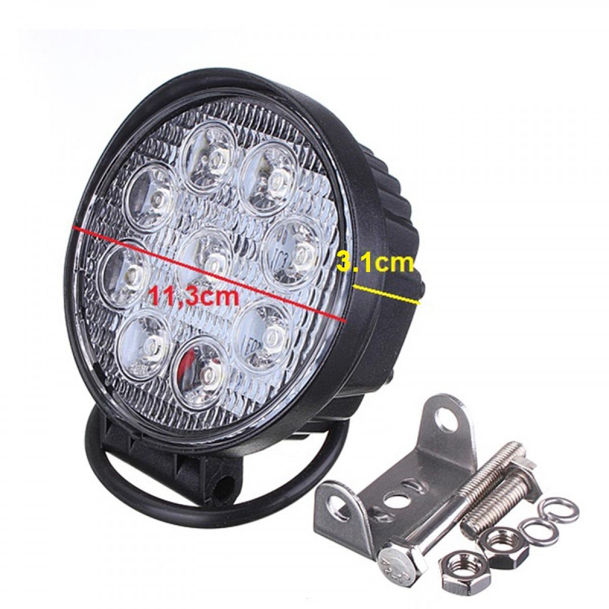 Στρογγυλός προβολέας LED 27W 30° δουλεύει από 12V έως καί 32V για βάρκες τρακτέρ φορτηγά αυτοκίνητα