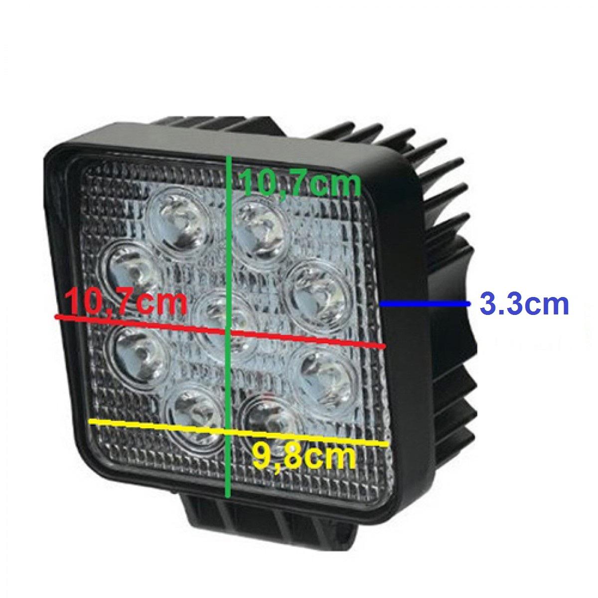 Τετράγωνος προβολέας LED 27W 30° δουλεύει από 12V έως καί 32V για βάρκες τρακτέρ φορτηγά αυτοκίνητα