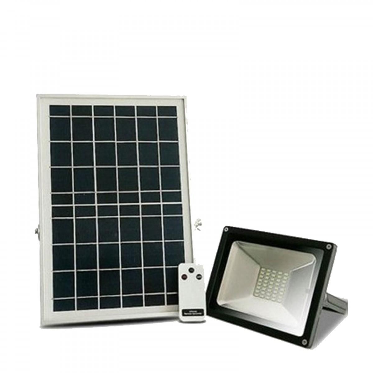 Ηλιακός προβολέας ανάβει μόλις νυχτώσει και σβήνει όταν ξημερώσει εξωτερικού χώρου IP 65 30W με 60 ισχυρά SMD LED + Τηλεχειριστήριο ON - OFF + Επιλογή αυτόματου φωτισμού το βράδυ-OEM