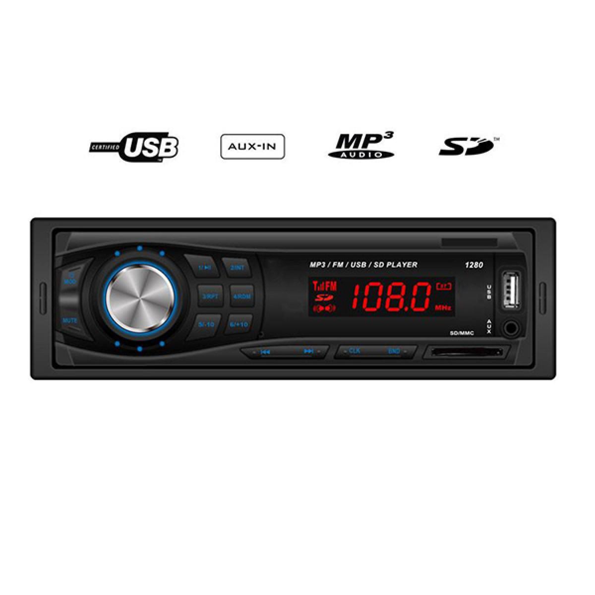 MP3 player αυτοκινήτου με είσοδο USB/SD/AUX, ραδιόφωνο και χειριστήριο - Hi-Tech GT 1280