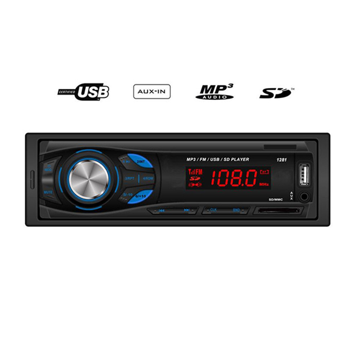MP3 player αυτοκινήτου με είσοδο USB/SD/AUX, ραδιόφωνο και χειριστήριο - Hi-Tech GT 1281