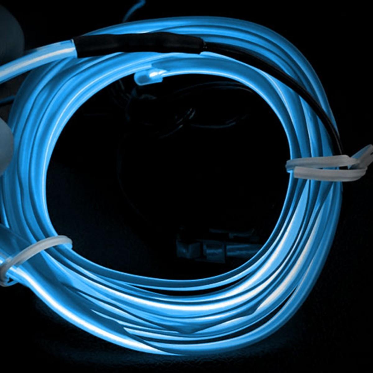Εύκαμπτο LED καλώδιο 2m για την εσωτερική διακόσμηση κάθε αυτοκινήτου - El wire- ΟΙΝΟΠΝΕΥΜΑΤΙ